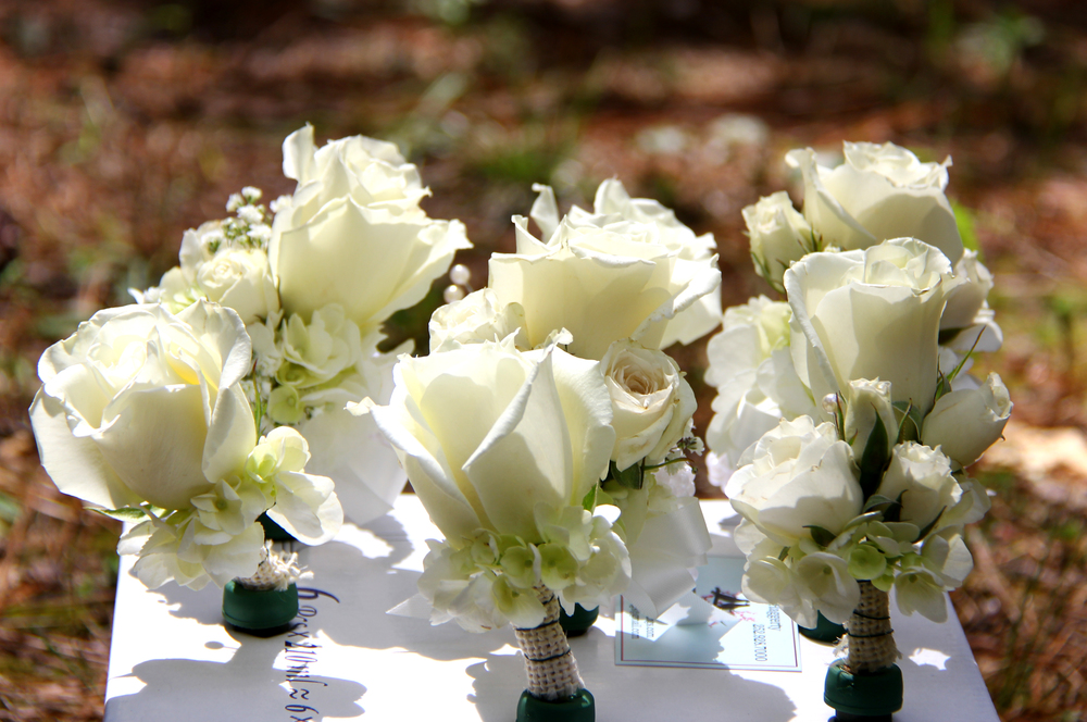 Grooms button holes boutineres with ivory roses Savannah GA wedding