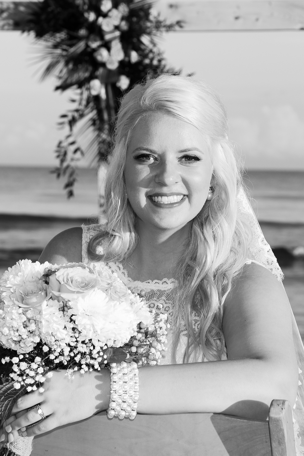 Hilton Head SC Beach bride black and white photography
