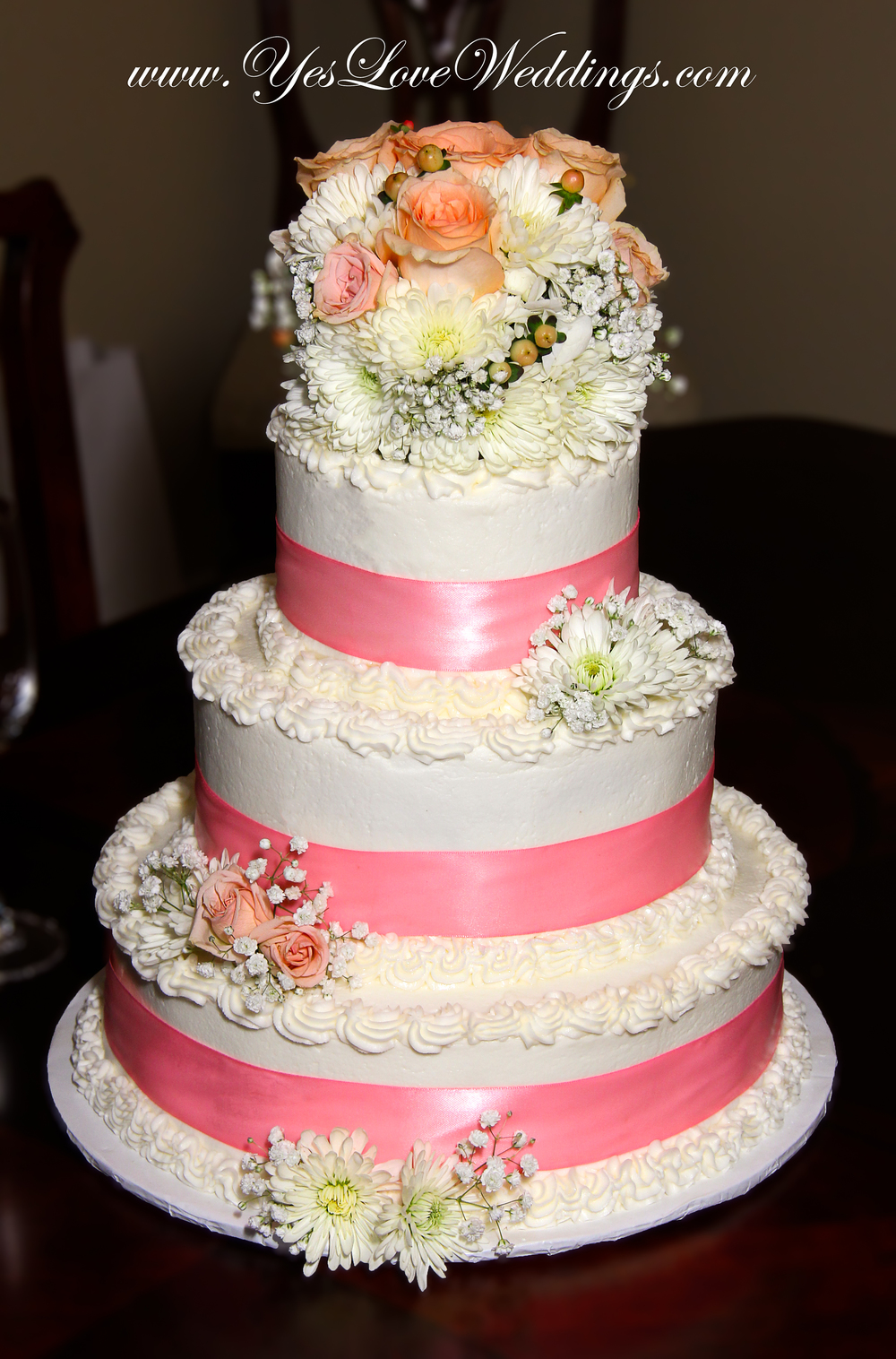 Hilton Head Wedding Cake Pink flowers Mollie Cakes