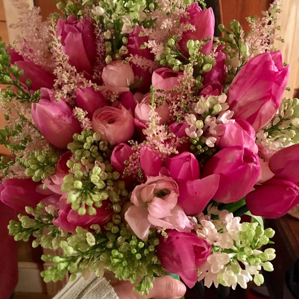 Pink Tulip bride's boquet