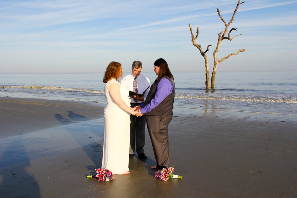 Hunting Island beach Wedding driftwood beach