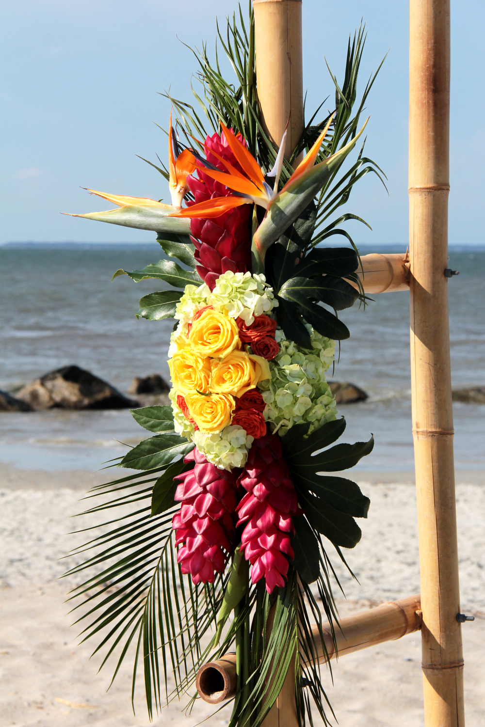 Tropical flowers for a beach wedding