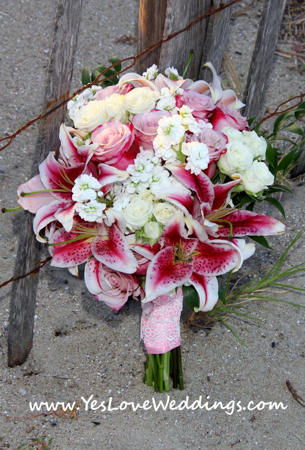Stargazer lily bride's bouquet