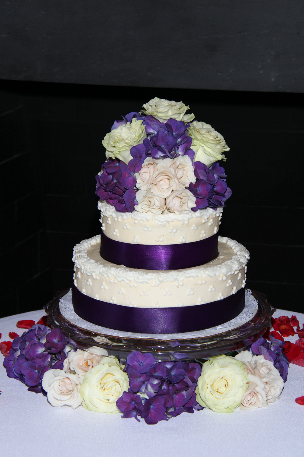 Purple flowers wedding cake two tier