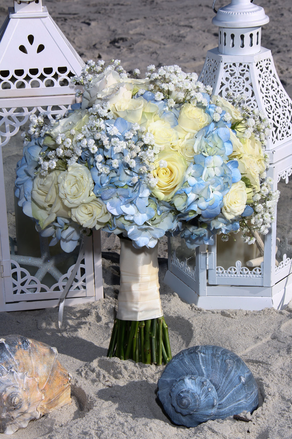 Bride's bouquet blue and white flowers