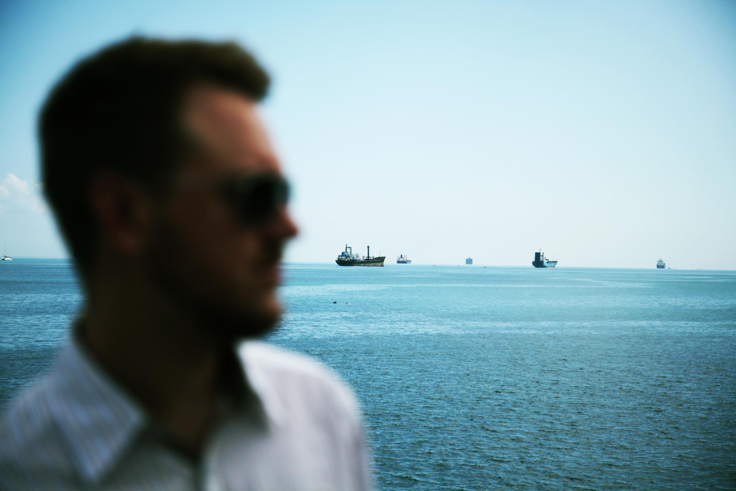 Watching ships enter the Panama Canal
