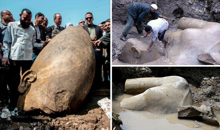 News article caption: The towering tribute to Ramses the Great, the most powerful ruler of ancient Egypt, was discovered under a muddy pit, sandwiched between two tower blocks. Sewage water and dirt have been scraped off the huge structure, as it lay sideways in the Matariyyah neighborhood, northeast Cairo.