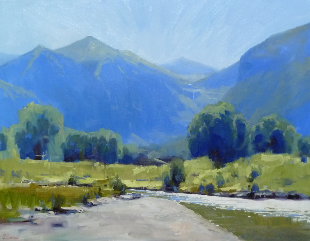 """Along the River Trail"" 22x28, Oil."