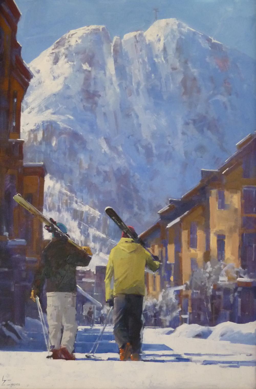 """""""Squaw Skiers"""" 24x36, $3500."""