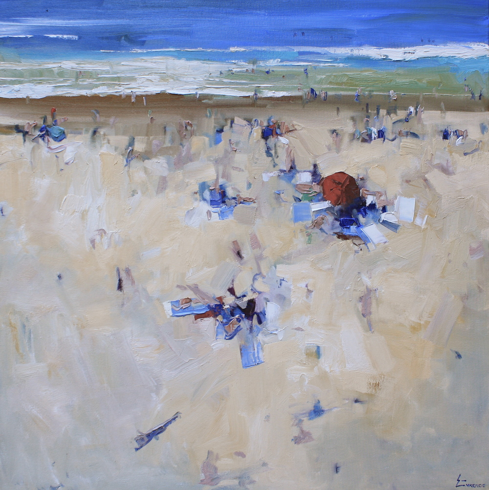 """Beach Day"" 36x36, Nancy Dodds Gallery."