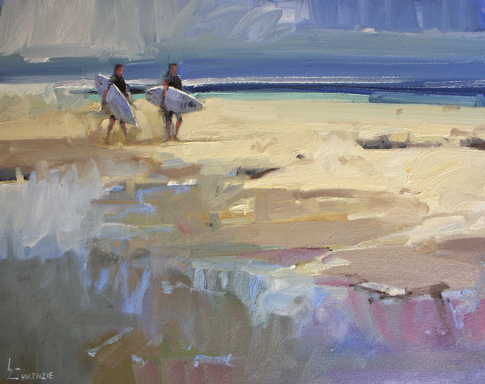 """Surfing with Mates"" 16x20, Oil."