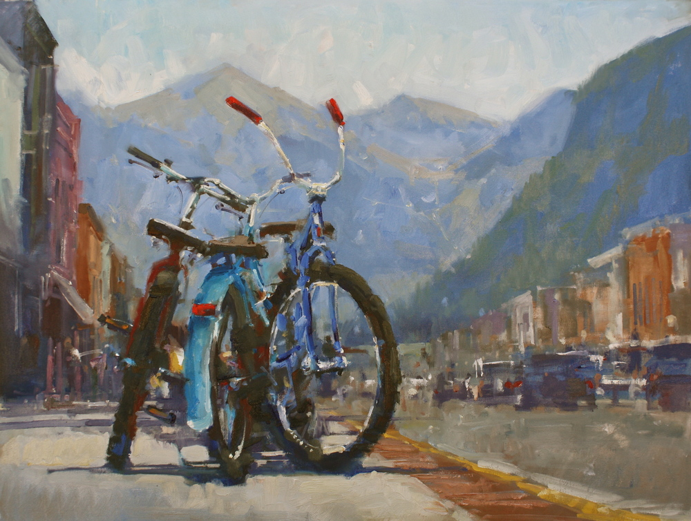 """Blue Bikes II"" 30x40, Oil."