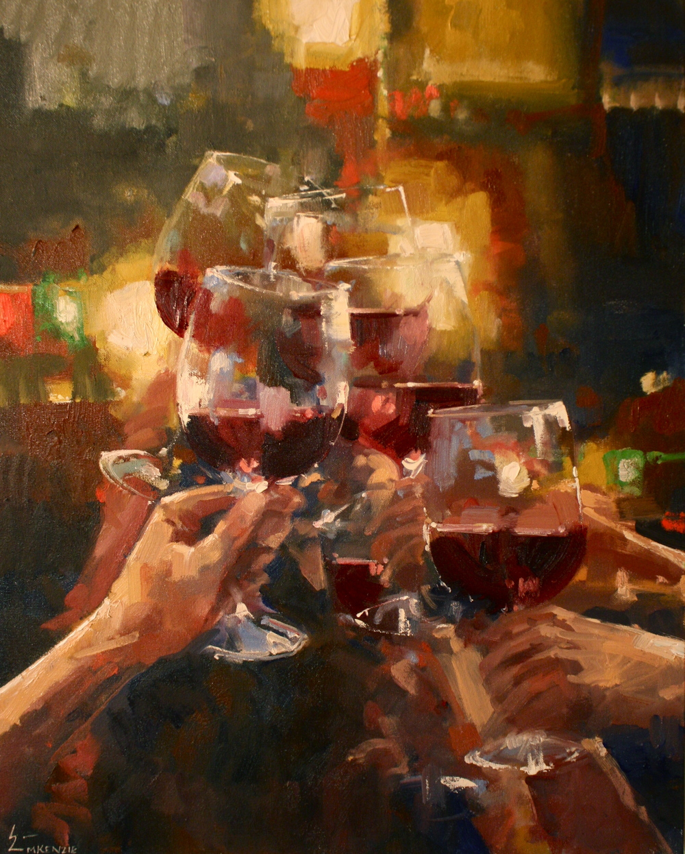 """Fine Art, Fine Wine"" 30x40, Oil."