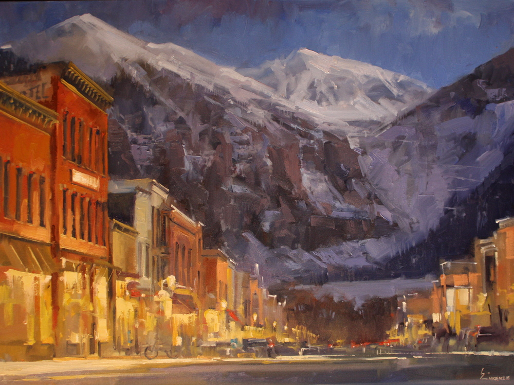 """Winter Lights on Colorado Ave"" 30x40, Oil."