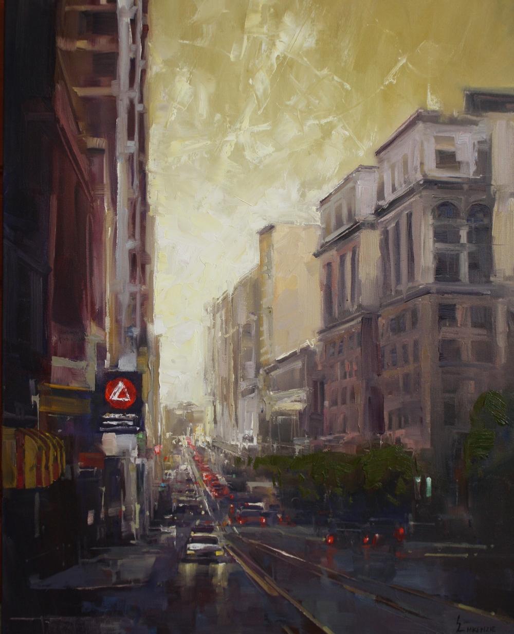 """""""Dawn in the City"""" 24x30, Oil."""