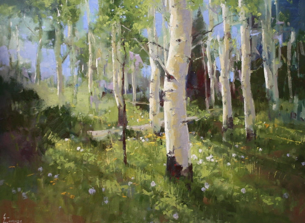 """Aspens and Dandelions""30x40,$4500."