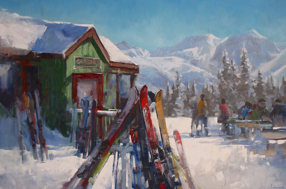 """Lunch at 11000ft"" 24x36, Oil."