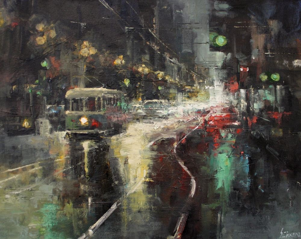 """Trolley Nocturne""16x20, Nancy Dodds Gallery."