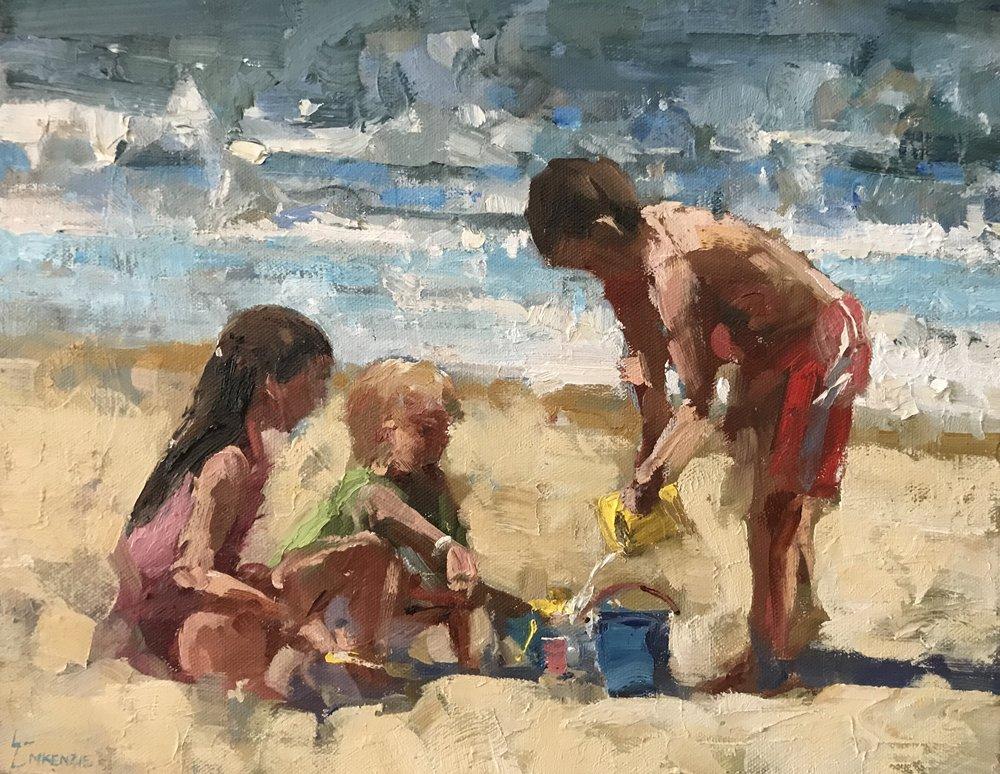 """""""Sandcastles"""" 11x14, $1200."""