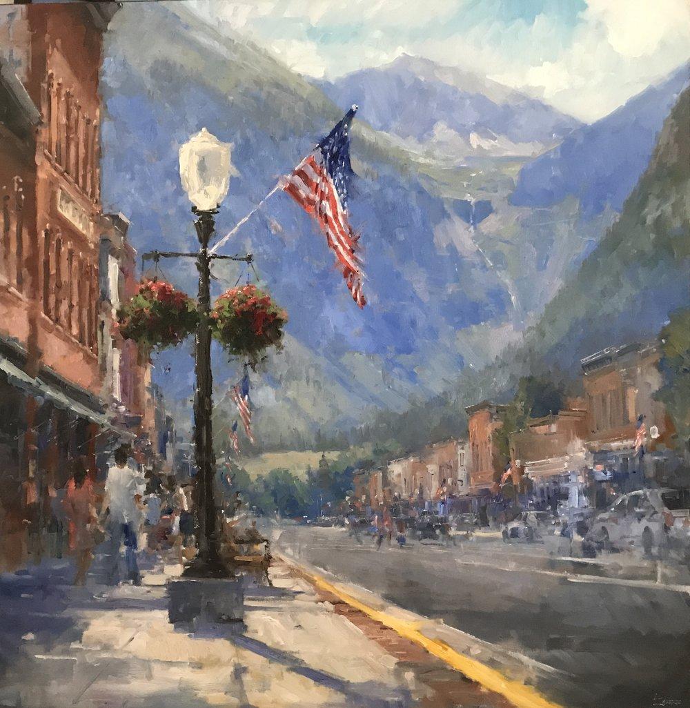 """Main Street Flag"" 60x60, $10500."