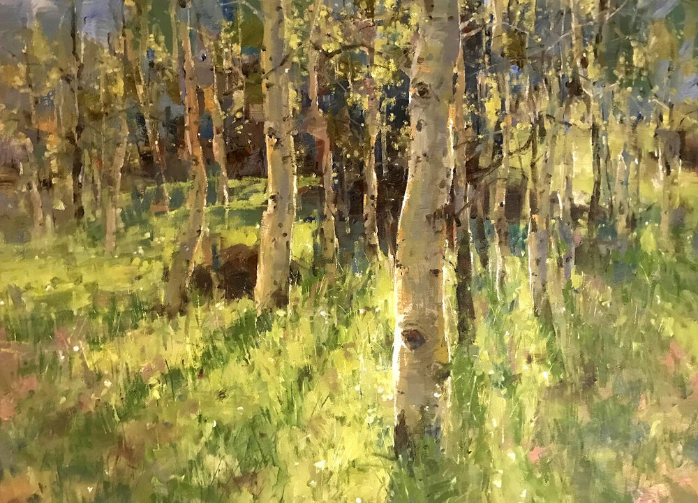 """Backlit Aspens"" 36x48, Oil, $6600."
