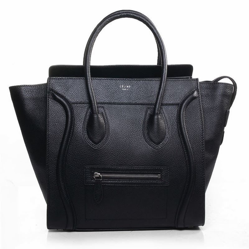 Celine Black Pebbled Leather mini tote