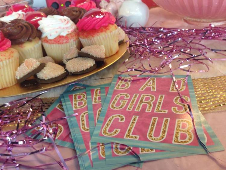 Bad Girls Club signature pink reception table, 2014