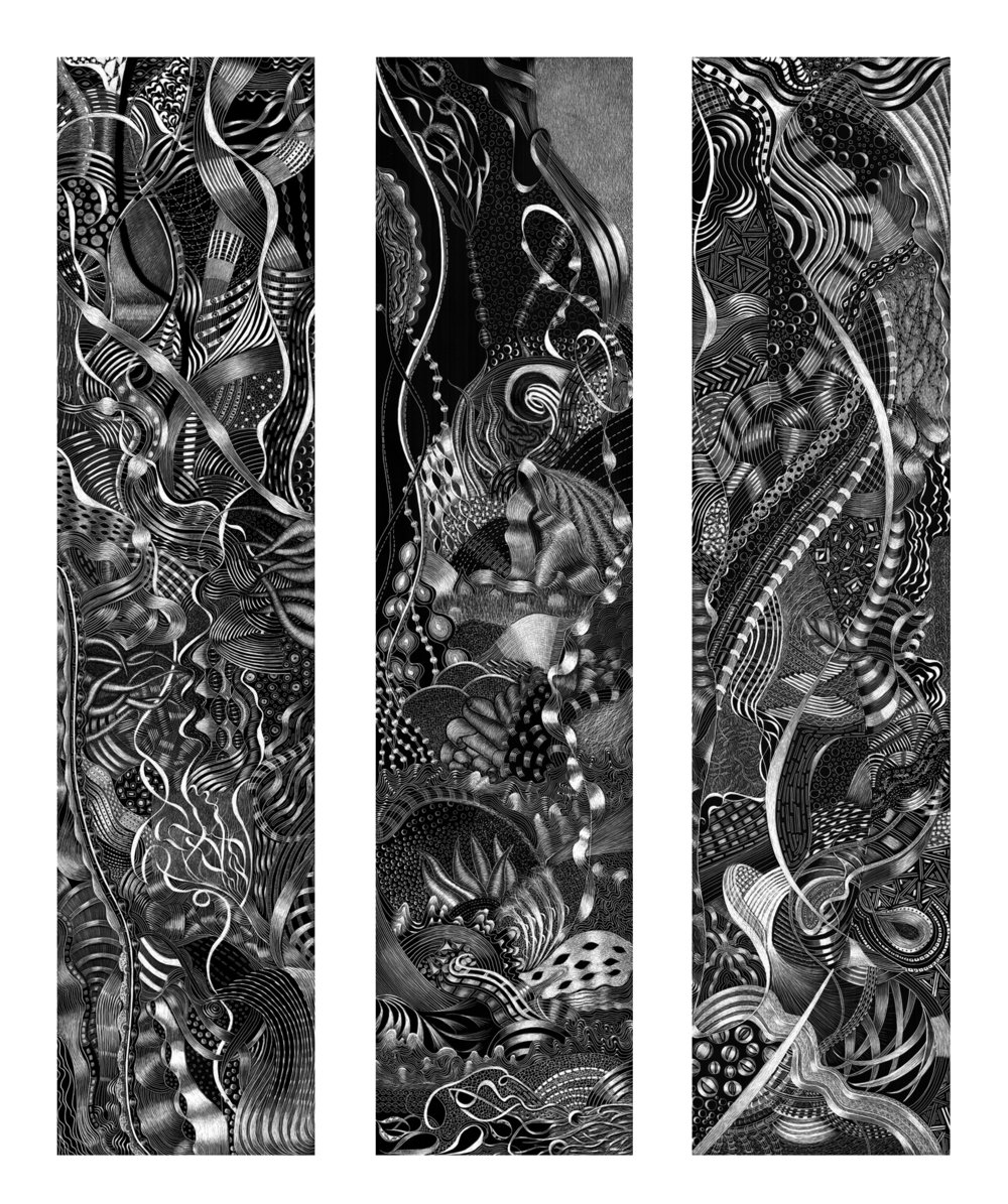 "SPONTANEOUS COMBUSTION TRIP TYCH 1, 2, 3  #3100 Black Scratchboard Individually Framed: 8"" x 24"" x 3  $4500.00     2016     Studio"
