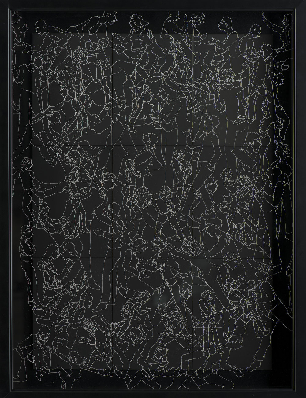 "INTERACTION 1  #3027 Black Scratchboard with Overlay of Etched Plexiglass Framed 19"" x 22""  $1500.00 Studio"
