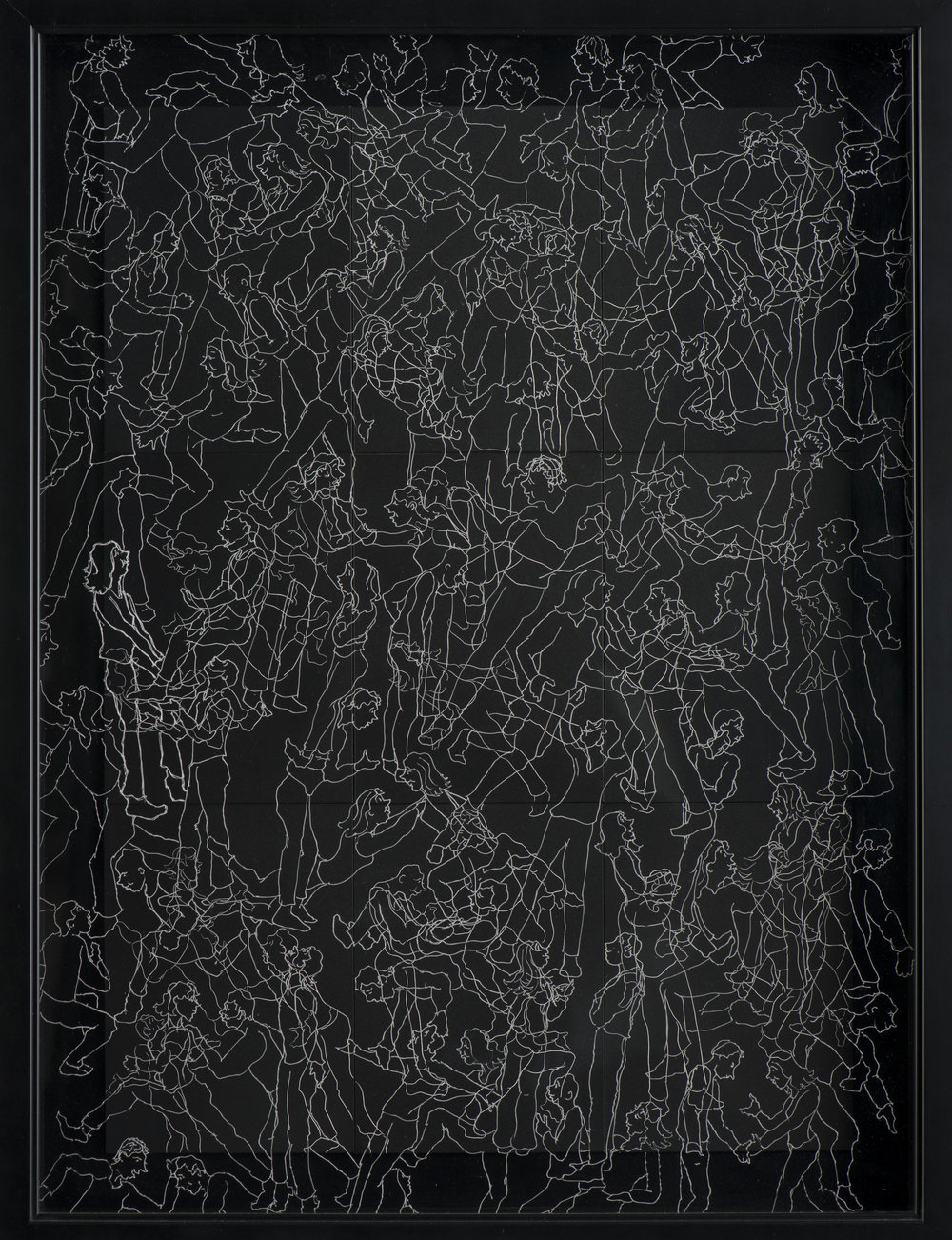 """INTERACTION 2 Black Scratchboard with Overlay of Etched Plexiglass Framed: 19"""" x 22"""" $1500.00 Sold"""