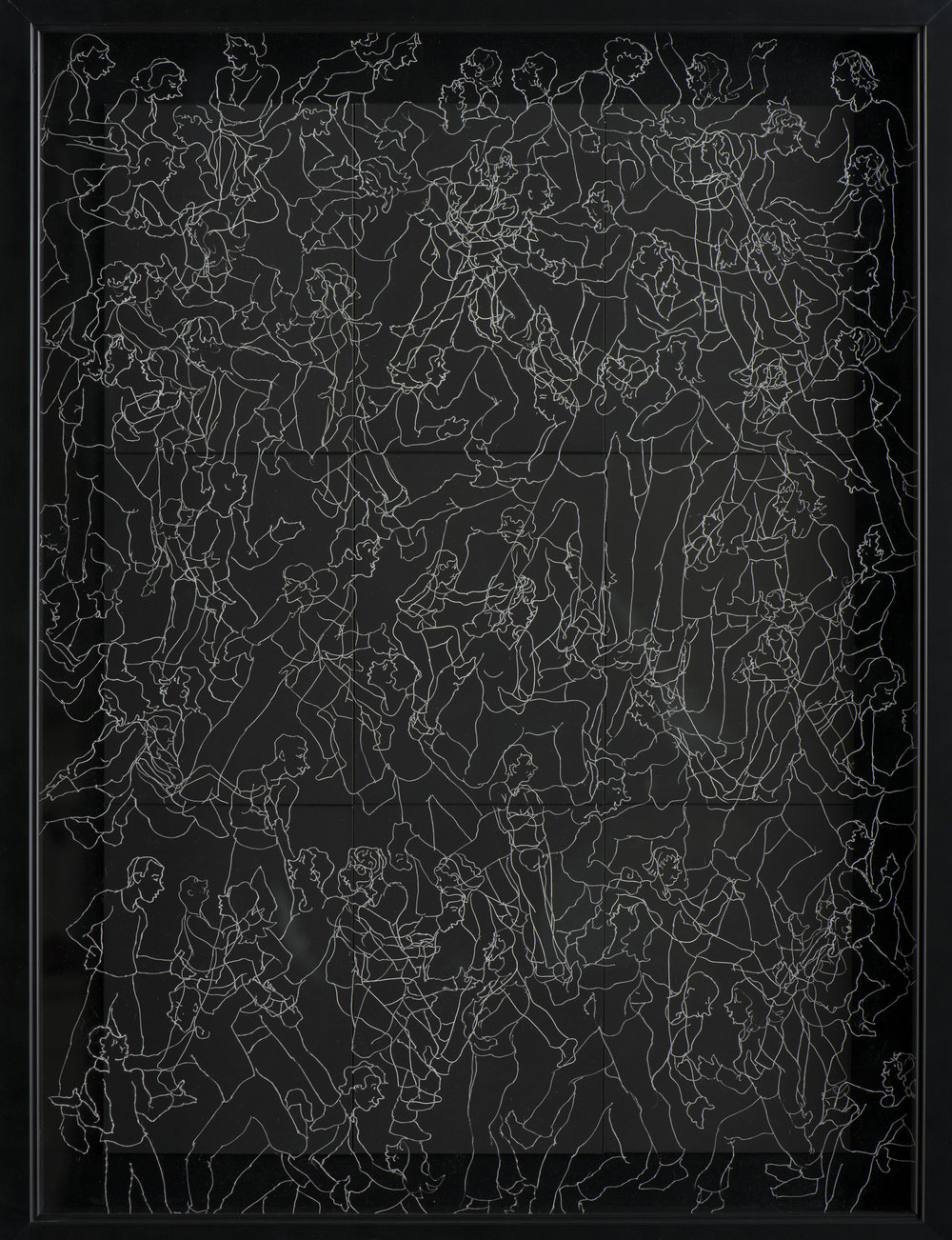 "INTERACTION 3  #3029 Black Scratchboard with Overlay of Etched Plexiglass Framed: 19"" x 22""  $1500.00 Studio"