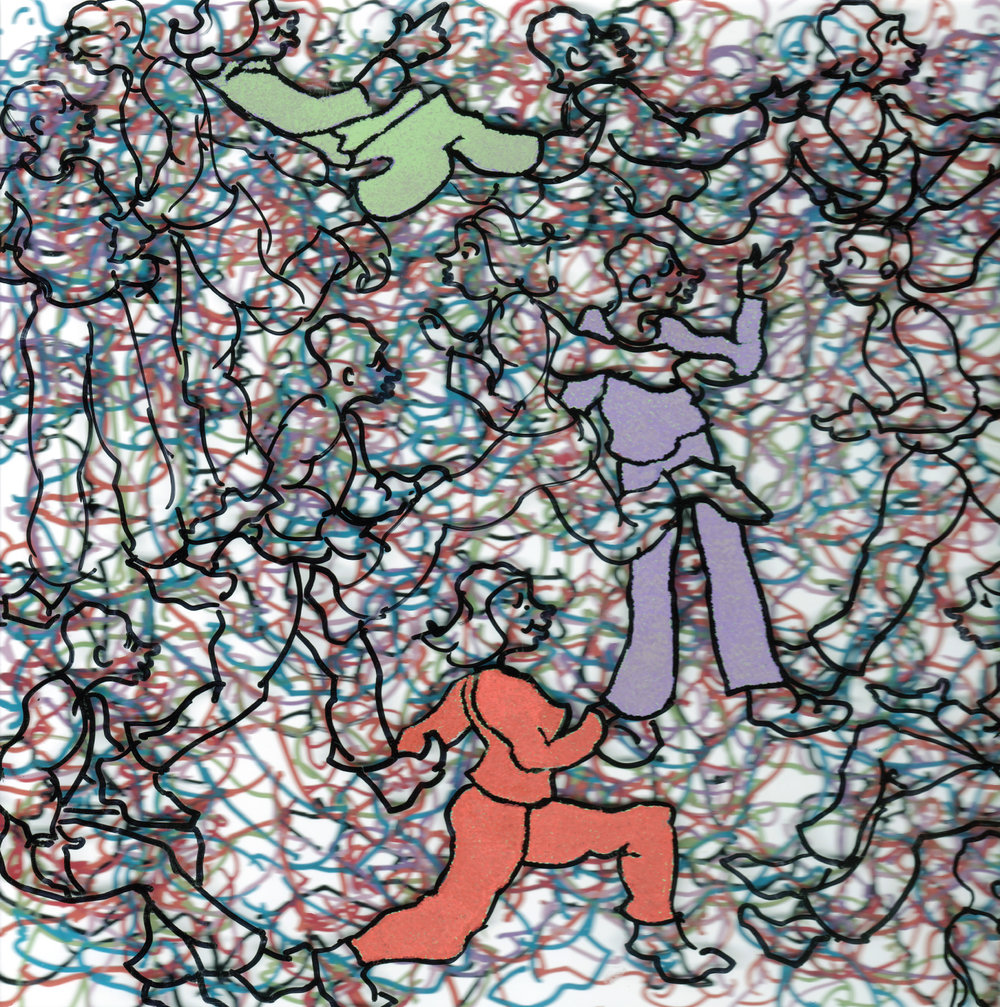 """CLEARLY INTERACTING 3 #3106 Acrylic with Krink Markers Framed: 10"""" x10""""  $500.00 Studio"""