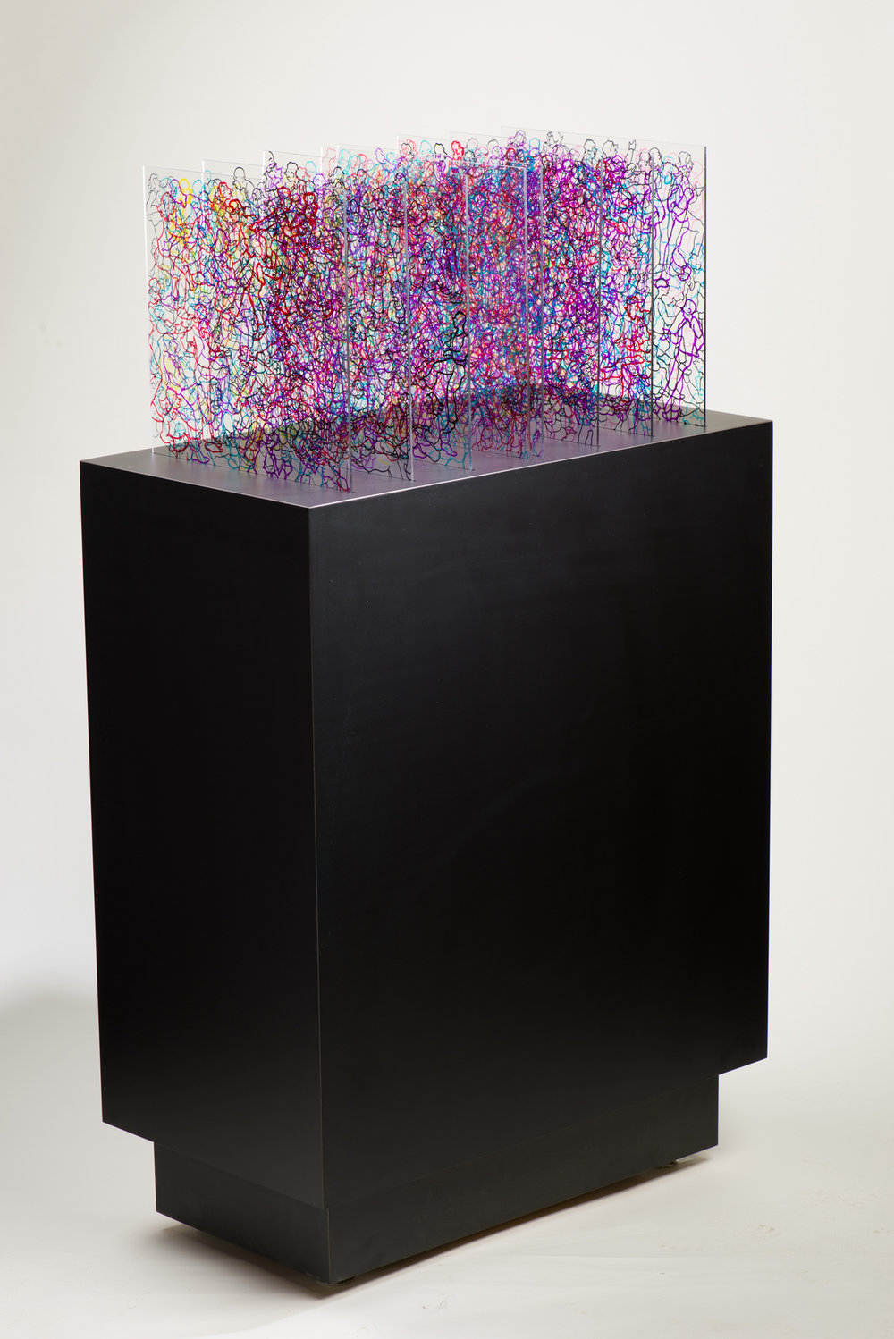 """CLEARLY INTERACTING PEDESTAL #3102 Acrylic Panels with People Drawing in Colored Krink Markers Clear Panels fit into Slots of Solid Pedestal 29 1/2"""" x 14"""" x 32"""" $4000.00 Studio"""