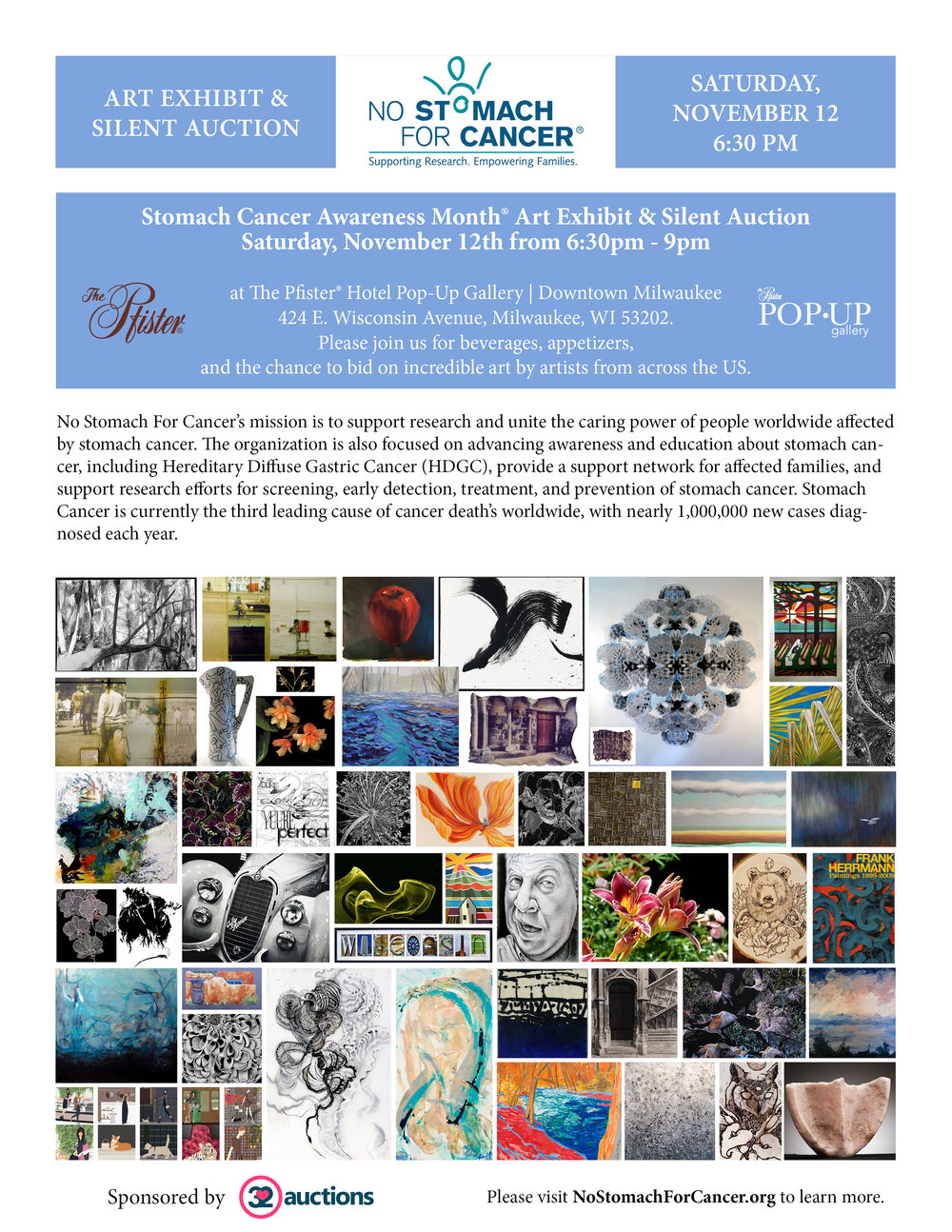 It is an honor to involved in No Stomach For Cancer's upcoming Silent Art Auction. Having family directly touched by Stomach Cancer, I am happy to raise awareness and funds to help eradicate this cancer once and for all. We have 52 pieces of art donated by artists from across the country that will be on display as of Wednesday, October 26th, at the Pop Up Gallery at The Pfister Hotel in downtown Milwaukee, WI. The actual auction takes place Saturday evening, November 12th, from 6:30-9:30. However, you can visit the exhibition the entire month of November and continue to bid on any art that hasn't sold through  32 auctions  at https://www.32auctions.com. Here is a sample of the artists who generously donated their art...