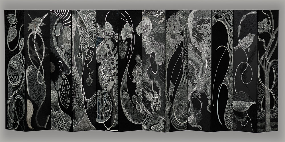 "ACROSS THE BOARD 1  #3182 Black Scratchboard, Acrylic Paint, Ink, Medium 21"" x 48"" x 3"" 2018 $18,000 Studio"