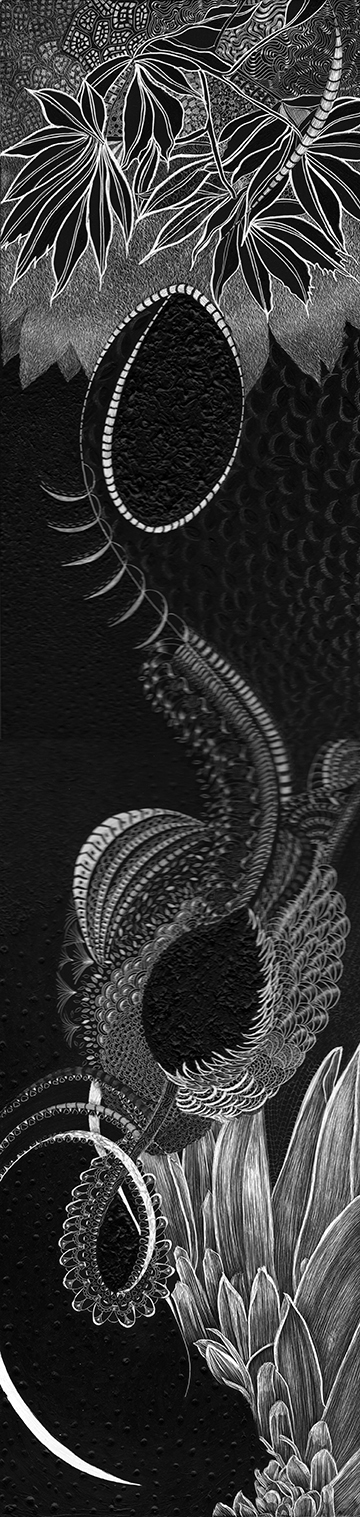 "SC 3187  Black Scratchboard Framed: 9.75"" x 25.75"" 2019 $1500.00 Governors State University"