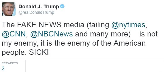 Trump's tweet calling the media fake and the enemy (note: the NYT is in fact THRIVING!)