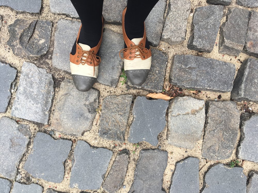 My awesome shoes on a cobbled street in Greenwich Village.