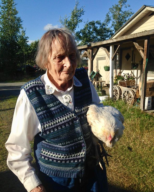 Quintessential Grandma. . . . . She homesteaded in Alaska in the 1950s before Alaska was a state. She loved her chickens (she carries her Noisy here). She loved her cows. She always wanted to be a farmer and became one. She played the harmonica. I haven't seen her since summer 2016—thank goodness I had a boss who let me go see her even though it meant our department was only one person for a week as a result—and am sad I couldn't say a more recent goodbye. But I'm so grateful for that 2016 trip and for the two weeks in 2015 I spent at her farm helping her out. Love you, grandma.