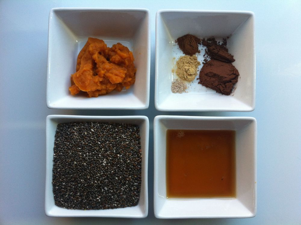 Clockwise: Spices, honey, chia, pumpkin puree