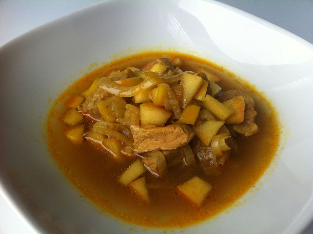 Curried Pork, Apples and Onions