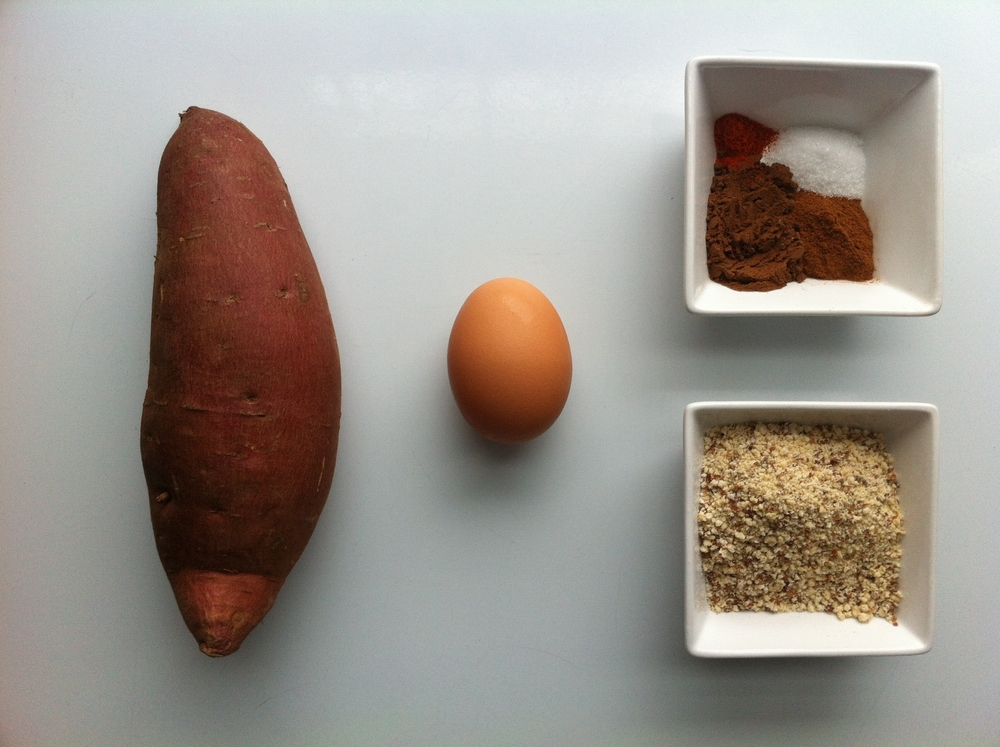 Sweet Potato, egg, spices and almond flour