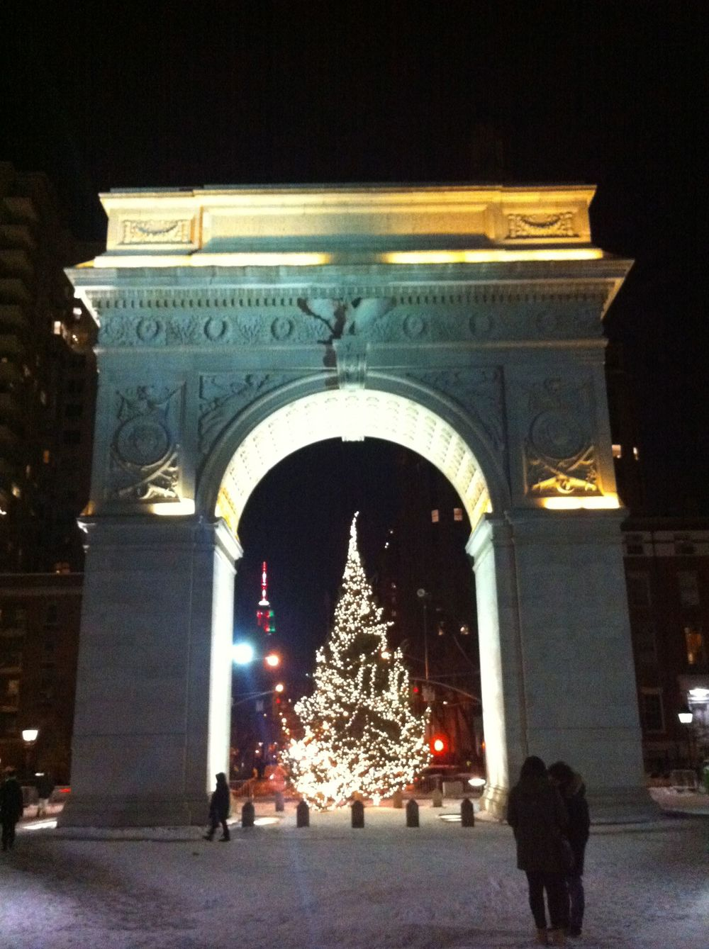Washington Square Park on a wintery night