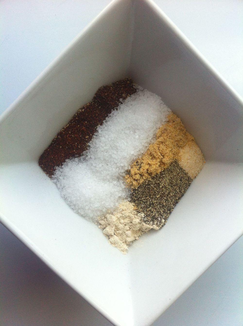Beef Rub Ingredients: Chili powder, salt, mustard, onion powder, pepper, and garlic powder