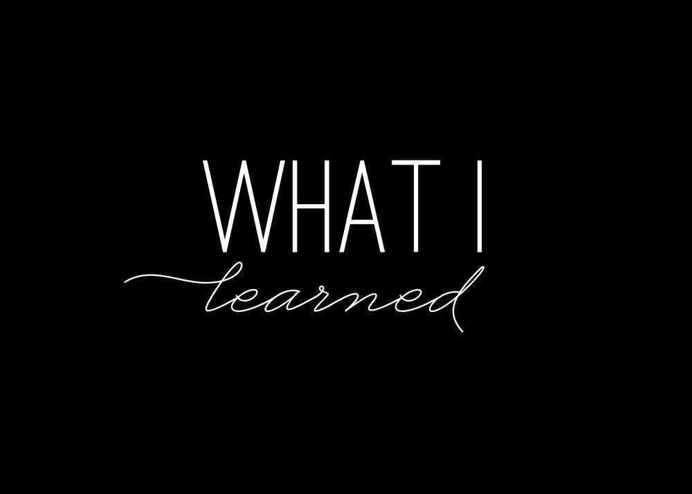 What I Learned: Week 7 (3/10-3/16)