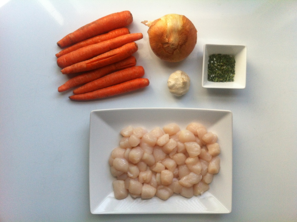 Carrots, Onion, Garlic, Thyme and Bay Scallops
