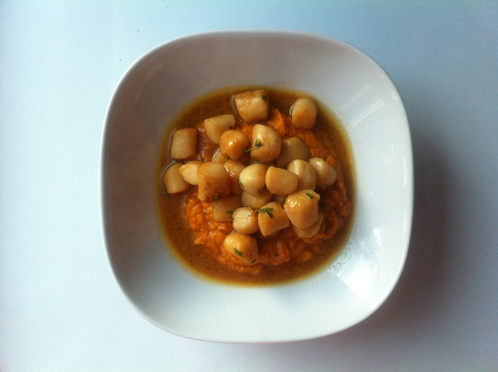 Bay Scallops with Carrot Puree