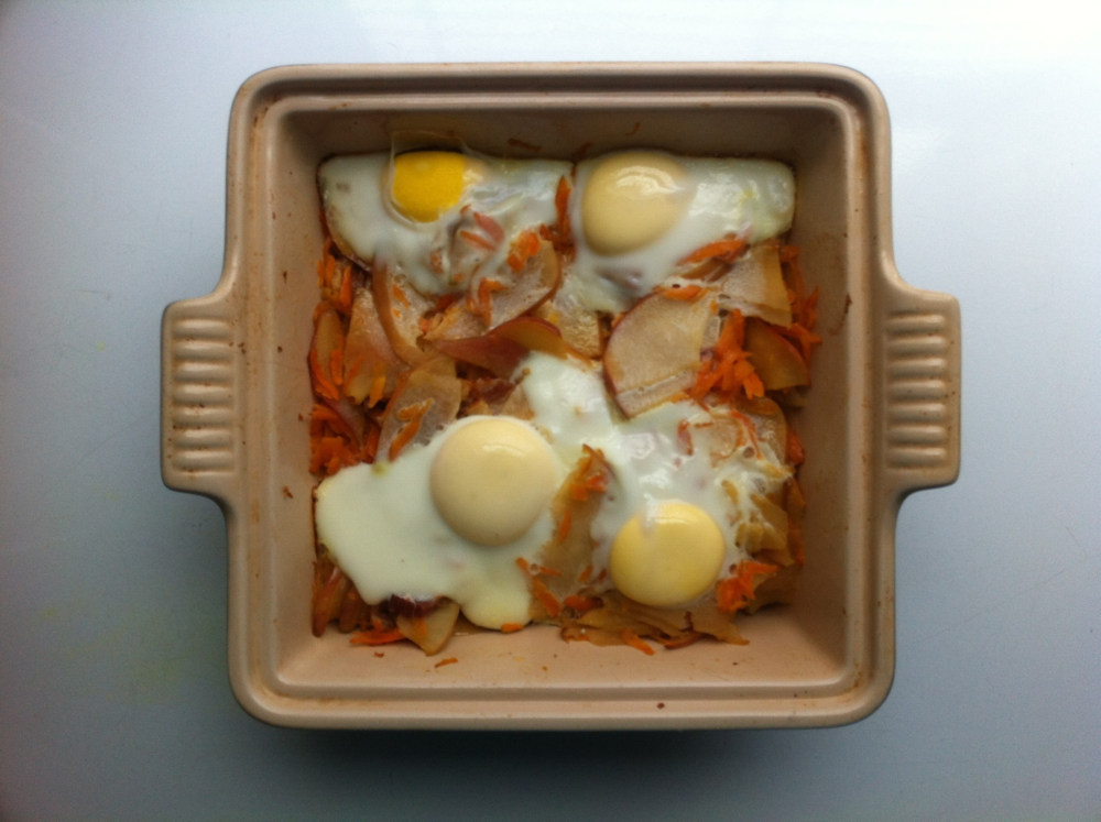Carrot, Apple and Bacon Hash with Eggs