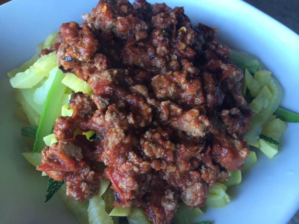 What I Ate: Dinner 7/24/15 - Tomato and meat sauce over veggies