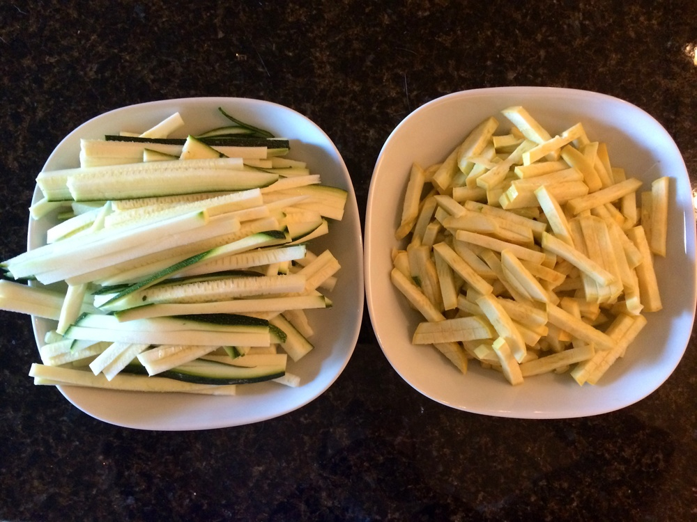 Zucchini and yellow squash. What I Ate: Dinner 7/24/15 - Tomato and meat sauce over veggies